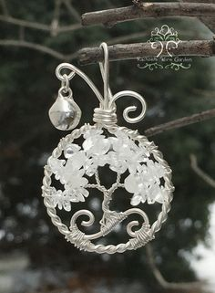 Jingling Bell Tree of Life Wire Wrapped Pendant Jewelry Rainbow Moonstone and Clear Quartz