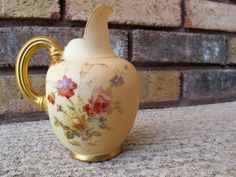 Royal Worcester Porcelain Flat Backed Pitcher / Antique Handpainted Floral Porcelain Pitcher with Gold Gilt / botanical painting - pinned by pin4etsy.com