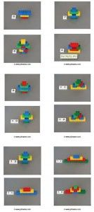 * Duplo opbouw! Twintig voorbeeldkaarten met bouwwerken gemaakt van vier kleuren duplo blokken. Elke kaart is genummerd in loopt op in moeilijkheidsgraad. De voorbeelden zijn twee dimensionaal.