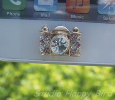 Great Gift for Her 1PC Bling Crystal Pink Camera Apple iPhone Rhinestone Home Button Sticker, Cell Phone Charm for iPhone 5,4,4g,4s, iPad