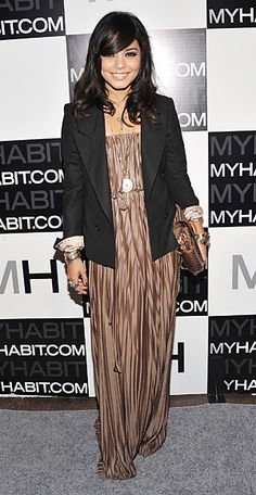 maxi dress and blazer. love her style