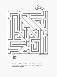 Printable maze for kids.  After following the Tour de France all day, Remy needs your help finding his way to the bistro on his bicycle.