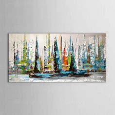 IARTS®Oil Painting Landscape Sailing Boat with Stretched Frame Ready to Hang Hand-Painted Canvas 1166097 2016 – $39.09