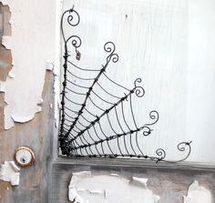 "Twisted 12""  Barbed Wire Corner Spider Web"