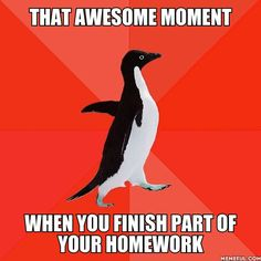 That awesome moment when you finish part of your homework