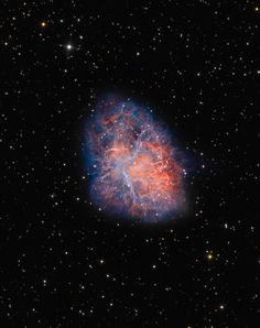 The Crab Nebula , the remnant of a supernova first witnessed by astronomers in the year 1054, via reddit