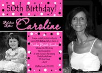 Hot Pink Women's 50th Birthday Party Invitations (can be done in any age) www.poshnchicprints.com