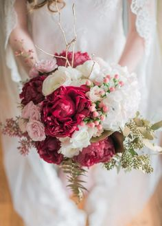 red and white wedding bouquet #aromabotanical
