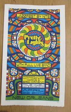 Original silkscreen concert poster for Pretty Lights in New Orleans, LA in 2014. It is printed on Watercolor Paper with Acrylic Inks and measures around 13.5 x 22.5 inches.  Print is signed and numbered out of 20 as an AE by the artist Tripp.