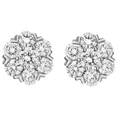 Van Cleef & Arpels Diamond White Gold Fleurette Earstuds