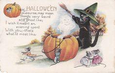 Halloween Mice Vintage Postcard by FunerealEphemera on Etsy, $25.00