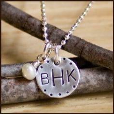 Custom Hand Stamped Sterling Dainty monogram necklace