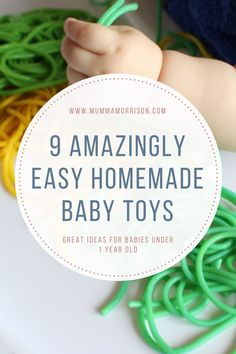 Are you looking for some homemade toys for babies under 1 year old? Below I've included my top 10 ways to create homemade baby toys.