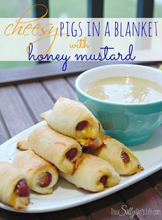 Cheesy Pigs in a Blanket with Honey Mustard