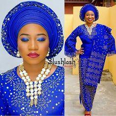 Blue is Bae #asoebispecial #asoebi #speciallovers #makeup #wedding @slushlashmakeover Asooke @bolsy_asooke Beads @beadsbybd_kween  @photographybyabis