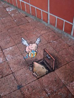Flying Pigs Holiday by David Zinn