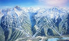 James Niehues  / Whistler Village map, Canada ... painted panoramic or bird's eye [birdseye] view map of mountain ski trails at Whistler-Blackcomb resort, BC, Canada