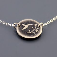 Tiny Flower and Hummingbird Necklace  Etched by lisahopkins, $48.00