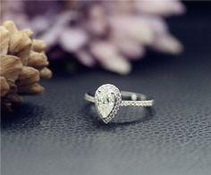 Bridal Ring 5x8mm Pear Charles & Colvard Forever Brilliant Moissanite Wedding Rings, Forever Brilliant Moissanite, Bridal Rings, White Gold Rings, Natural Diamonds, Rose Gold, Stud Earrings, Engagement Rings, Gemstones