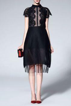 detailed black dress