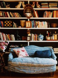⋴⍕ Boho Decor Bliss ⍕⋼ bright gypsy color & hippie bohemian mixed pattern home decorating ideas - library - perfectly lived in