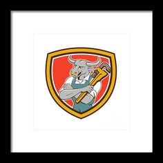 Bull Plumber Wrench Standing Shield Cartoon Framed Print By Aloysius Patrimonio