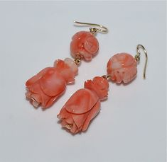 Vintage Chinese Carved Coral Earrings 14 kt Gold Wires Shou Flower ~13.2 Gm #dangle
