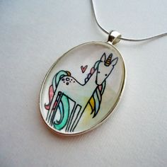 Unicorn Necklace - Picture Pendant - Hand Painted Whimsical Art $36
