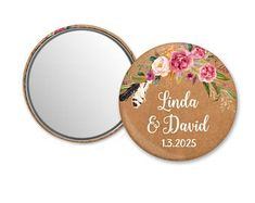 Personalized mirror compact mirror with your logo photo | Etsy