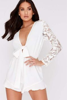 b9ee55e95e Charlotte crosby white tie front lace sleeve playsuit