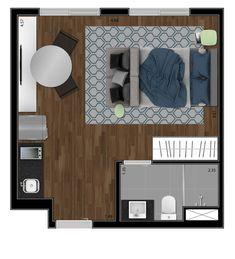26m² Studio Apartment Layout, Small Studio Apartments, Small Apartment Interior, Apartment Design, Interior Design Living Room, Studio Floor Plans, House Floor Plans, Hotel Room Design, Apartment Floor Plans