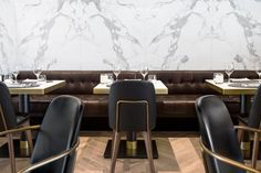 RESTAURANT | Beefbar. Humbert & Poyer. Stone and Banquette seating detail composition. #Stone #Banquettes #Finishes [ok]