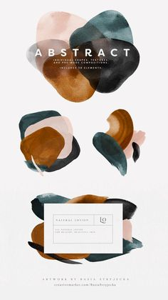 Abstract Watercolor Shapes - Abstract Watercolor Shapes and Backgrounds in Blush, Rust, Blue, Gray and Black. Beautiful modern c - Website Design, Web Design, Design Art, Logo Design, Design Stand, Graphic Design Inspiration, Color Inspiration, Web Minimalista, Illustrations Poster
