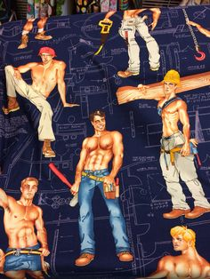 navy blue Pin up construction worker fabric Alexander Henry Heavy Equipment Navy Fabric, Cotton Fabric, Male Pinup, Homo, Alexander Henry Fabrics, Hello Ladies, Novelty Fabric, Fabric Wall Art, Gay Art