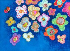 My Paisley World: The Embroidery of Kimika Hara Modern Embroidery, Hand Embroidery Designs, Embroidery Applique, Embroidery Stitches, Flower Embroidery, Thread Painting, Textiles, Illustrations, Fabric Art
