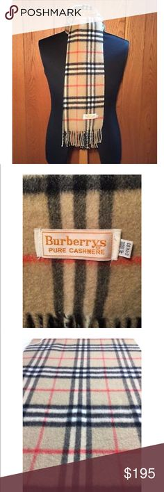 """Authentic Burberry 100% cashmere nova check scarf Vintage 100% Pure Cashmere Nova Check Scarf made by Burberrys in Japan. Extra warm for the winter! 52"""" by 11"""". Slight pilling. Burberry Accessories Scarves & Wraps"""
