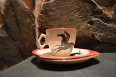 x2 1950s Beswick China Black Galloping Horses Trio Cup Saucer Tea Plate  .2