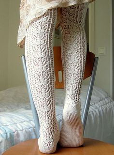 Ravelry: Tessas' Lace Stockings US 2 and US 3 Needles Crochet Slippers, Knit Or Crochet, Lace Knitting, Knitting Socks, Knit Socks, Knitted Tights, Lace Socks, Vogue Knitting, Knit Lace