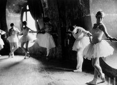 Ballerinas at barre during rehearsal for Swan Lake at Grand Opera de Paris, 1930.