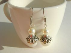 Wedding Dangling Vintage Earrings Creamrose Swarovski Pearls by NightLightCrafts, $18.00