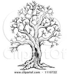 Clipart Black And White Sketched Hollow Bare Tree - Royalty Free Vector Illustration by visekart