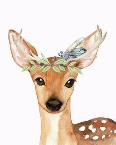 Blue Feather Woodland Boho Deer by Pink Forest Cafe – drawing – Bilder Hirsch Wallpaper, Deer Wallpaper, Animal Paintings, Animal Drawings, Cute Drawings, Watercolor Animals, Watercolor Art, Baby Prints, Wall Art Prints