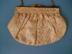 Vintage 1940s Cream and Gold Evening Bag Purse by Biminicrickets, $45.00