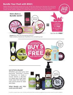 What is Perfectly Posh? My advice is, BUNDLE IT UP and see for yourself!   Bundles are great for Mother's day,Birthdays. Bridal Showers, Christmas,Valentines' day etc.  Here's a great bundle of some our best products Slather $18 Body Scrub Brown Sugar Baby $22 or Sugar Fix $20 Lip Scrub $12 One of our D-Tox Stripper or Tree Hugger $22 Chunk or Bombinator $9 Big Fat Yummy Hand Cream $8  $81 plus tax and shipping www.perfectlyposh.us/justposhed
