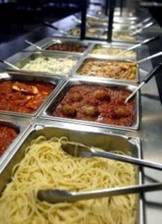 Pasta buffet: meat choices - meatballs, chicken, and shrimp. Sauce - spaghetti sauce, Alfredo, and scampi. Pasta - penne, fetuccini and angel hair