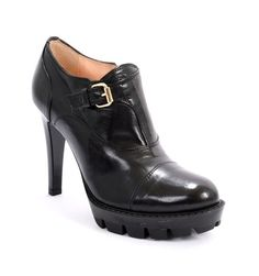 Black Leather Side-Zip Stiletto Heel Booties 20% OFF- Code PINTEREST20
