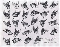 Baby Bambi Expression sheet. SO GOOD. This is how expression sheets are supposed to be done!