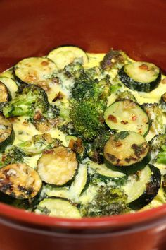 This Feel Good Zucchini Casserole is so simple and delicious. This healthy casserole recipe contains eggs, cheese, and sauteed broccoli and zucchini.