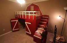 Trendy Bedroom Bed For Kids 56 Ideas Cool Loft Beds, Cool Beds For Kids, Bedroom Bed, Kids Bedroom, Bedroom Ideas, Bed Ideas, Kids Barn, Custom Bunk Beds, Awesome Bedrooms