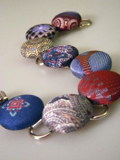 Upcycled and Recycled Men's Neckties button bracelet